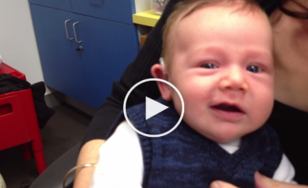 7 Week-Old Baby hears for the first time. Watch his Reaction so touching.