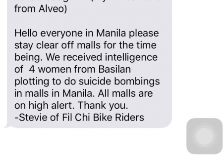 HOAX Alert: Bomb Threat circulating on mobile phones claimed to be from PNP Chief Bato's daughter