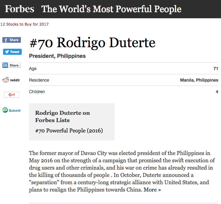 Screen capture, President Duterte's profile on Forbes Website. http://www.forbes.com/profile/rodrigo-duterte/?list=powerful-people