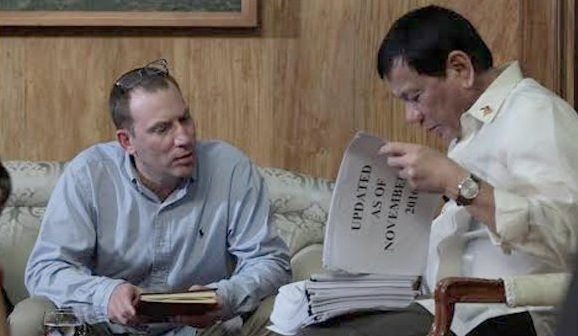 President Duterte, shows nationwide drug list to Ioan Grillos, a journalist who covers drug cartels in South America