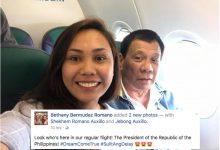 LOOK: Lucky Passenger takes a selfie with President Rodrigo Duterte on a commercial flight