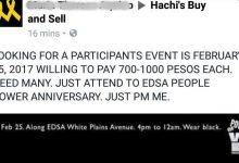 LOOK: Netizen ready to pay for everyone who willing to join the People Power Anniversary on Feb 25