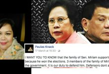 "Younger sister of Miriam Defensor-Santiago defends President Duterte: ""MEDIA IS SPREADING DISINFORMATION"""