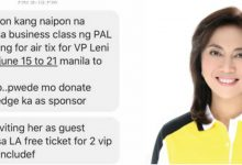 LOOK: Supporters of Robredo begs for airline ticket to Los Angeles for the Vice President