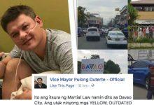 "Vice Mayor Pulong Duterte lambasts anti Martial Law rallyists: ""Bakit kayo takot sa martial law? Protektor ba kayo ng terorista o kriminal"""