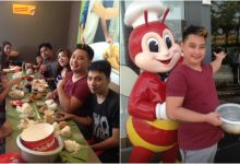 Only in the Philippines: Family do a boodle fight at Jollibee restaurant