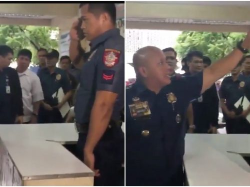 PNP Chief Bato lectures a police desk officer how to properly salute