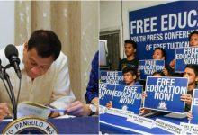 President Rodrigo Duterte signs free tuition fee for all SUCs