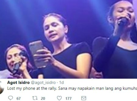LOOK: Actress Agot Isidro lost her phone during Sept. 21 rally