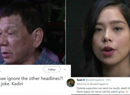 "Saab Magalona to President Duterte's statement: ""Lahat nalang joke. Kadiri. You can not silence me"""