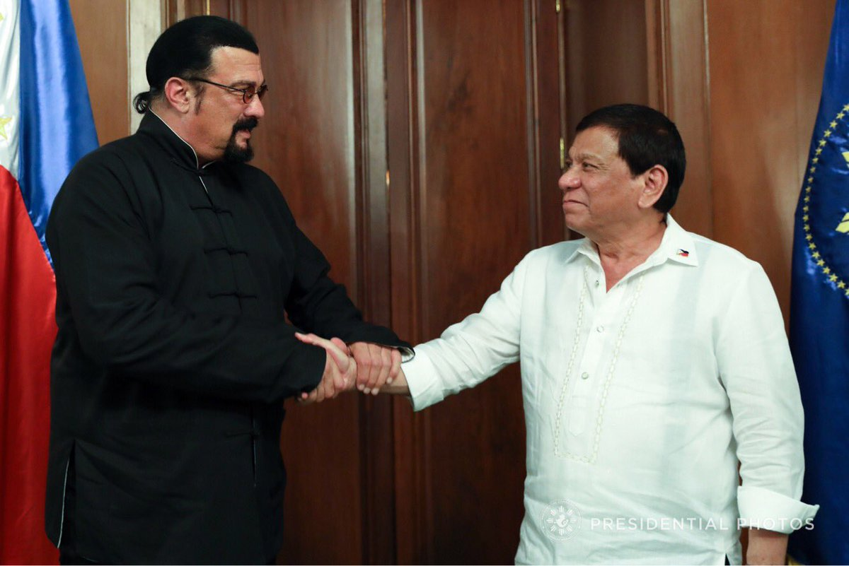LOOK: Action star Steven Seagal meets President Duterte in Malacañang