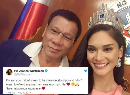 Miss Universe 2015 Pia Wurtzbach apologizes on twitter as the netizens urge her to condemn Duterte's war against drugs