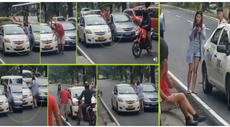 WATCH: Beautiful lady caught on cam while assaulting an old taxi driver during road rage