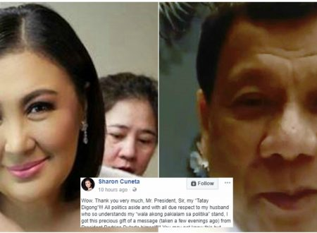 Sharon Cuneta responds to her 'Tatay Digong' after she receives a video message from the President