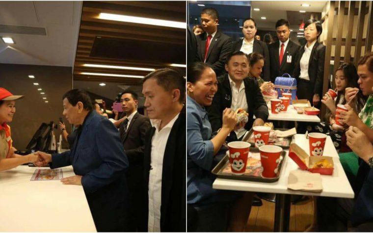 LOOK: Duterte surprisingly visits Filipino fast food in Hong Kong and dines with OFWs
