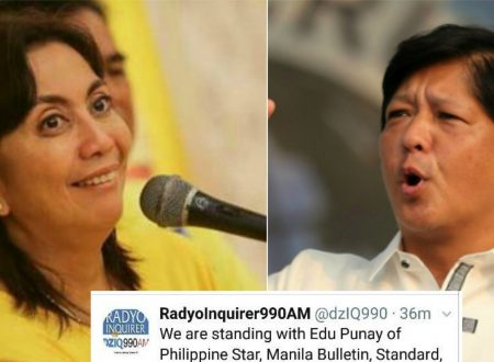 Radyo Inquirer express support to Edu Punay and other media outlets which VP Robredo attacks