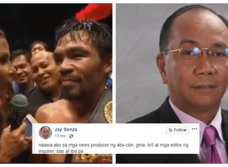 "Jay Sonza says that he feels sorry for mainstream media producers after Pacquiao's ""Duterte is very good President"" remark"