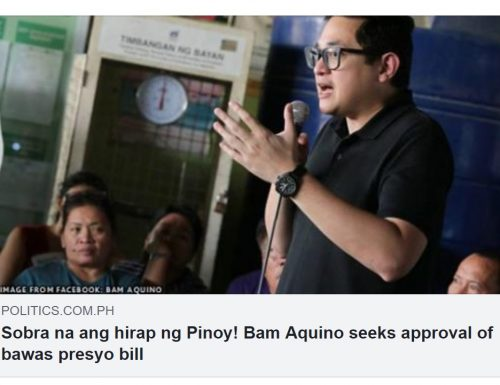 "US-based blogger says Bam Aquino's ""BAWAS PRESYO BILL"" in aid of re-election, irrelevant, not needed."